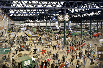 Waterloo Station - peace, watercolour by Helen McKie, 1948 (NRM / Pictorial Collection / Science & Society)