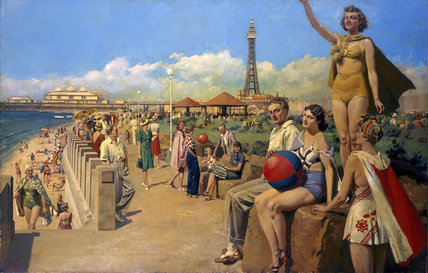 'Blackpool', original oil painting for an LMS poster, c 1930s.