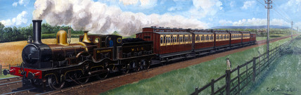 A West Lancashire Railway train hauled by the locomotive 'Blackburn', 1890.