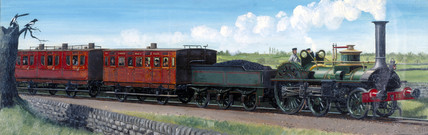 Steam locomotive on the Maryport and Carlisle Railway in Cumbria, 1855.