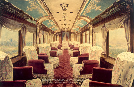 Interior of a drawing room car, early 19th century.