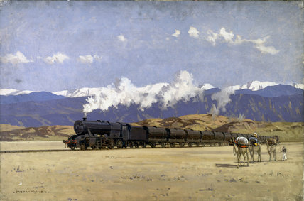 LMS locomotive in Persia taking supplies to Rusia, 1939-1945.