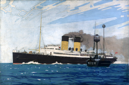 'Steamer Pasing Kish Lightship between Dublin and Holyhead', c 1935.