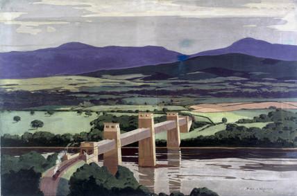 The Britannia Tubular Bridge over the Menai Straits, Wales, 1923-1947.