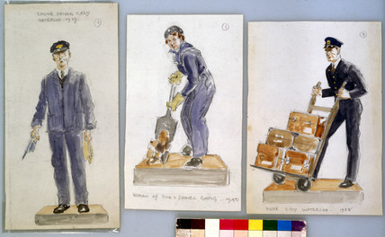 Three sketches of railway workers, c 1940.