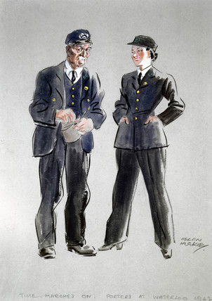 'Time Marches On', Porters at Waterloo, 1942.
