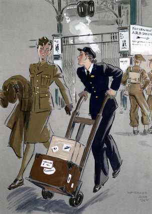 Servicewoman with a female porter, Waterloo