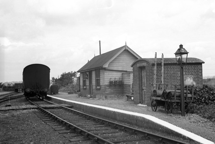 General view of Tolleshunt D'Arcy railway station. England, 1950.