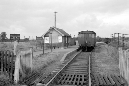 Tollesbury railway station. England, 1950.