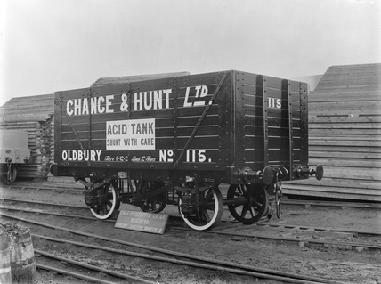 12 ton jar wagon numbered 115, Chance & Hunt Ld. Oldbury, England, 1909.