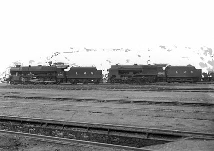 London Midland Scotland (LMS) Class 6P 4-6-0 locomotives Nos.6102 'The Black Watch' and 6103 'Royal Scots Fusilier'. England, 24th June 1943.