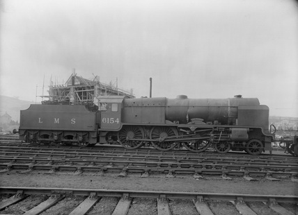 London Midland Scotland (LMS) damaged Class 6P 4-6-0 locomotive no.6154 'The Hussar', 28th February 1936.