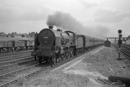 London Midland Scotland (LMS) class 5XP 4-6-0 BR no.45546 'Fleetwood' at Kenton.