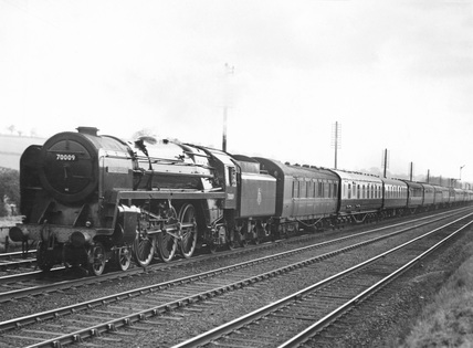 London Midland Soctland (LMS) locomotive No.70009 near Bourne End Box.