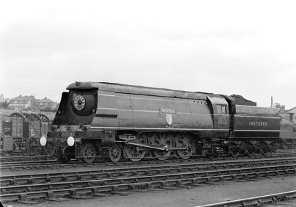 Southern Railway (SR) West Country (WC) Class 4-6-2. Locomotive 'Tavistock'