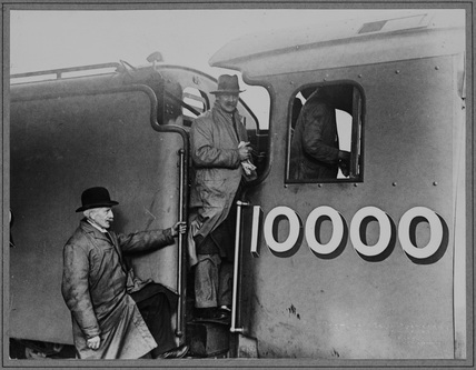 Sir Nigel Gresley and crew in the cab of London North Eastern Railway (LNER). Locomotive no. 10000 class W1 as Flying Scotsman. (NRM_PHA_106)