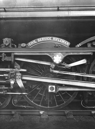 London Midland Scotland (LMS) locomotive no.  6163 'The Civil Service Rifleman' Royal Scot class 6P 4-6-0.