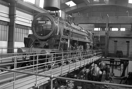 British Railways (BR) Brittania Class 4-6-2 locomotive no. 70005 'John Milton' Rugby Test Plant.