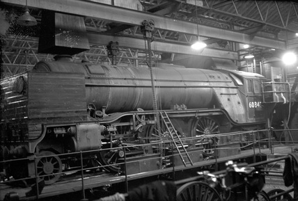 London and North Eastern Railway (LNER) class V2 2-6-2 locomotive no. 60845 Swindon 1st January 1953.