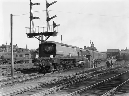 Ex-Southern Railway (SR) 4-6-2 locomotive 35019 'French Line CGT' during locomotive exchange at Wakefield.