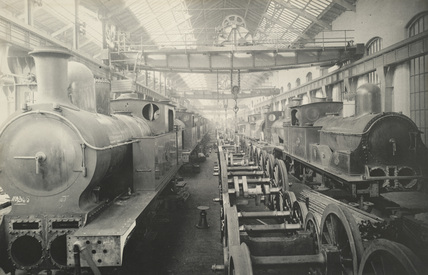 Horwich Works, Erecting shop view. Numbers 4 and 5. c.1892. (Book 16  Horwich 1V, PHA_ALB_084)