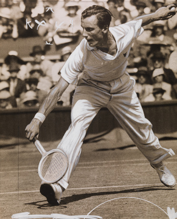 Fred Perry during tennis match at Wimbledon, by Edward Malindine.