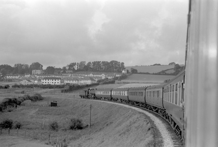 Barnstaple, Taunton train entering. 4 August 1951.