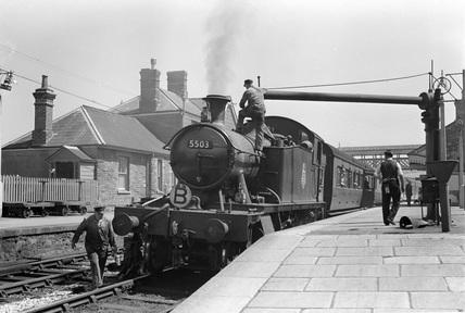 GWR locomotive no. 3453 'Seagull' on Barnstaple Turntable.