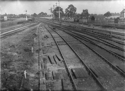 Clacton-on-Sea, Essex. View of approaches to passenger and goods stations from station signal box.