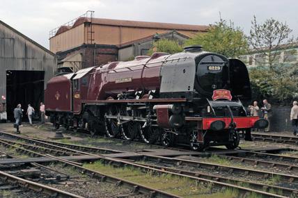 The National Railway Museum London Midland Scottish Railway (LMSR) 4-6-2 8P Coronation Class No. 46229 'Duchess of Hamilton', built 1938, in 2006.