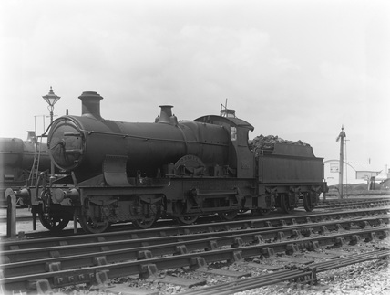 Locomotive no. 3529 at Barnstaple locomotive shed, with 2000 gallon tender c.1926.