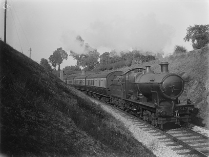 632 on up local train of E116 B set and clerestory, at Landkey c.1926