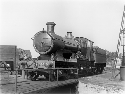 GWR locomotive no. 3453 'Seagull' on Barnstaple Turntable.