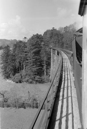 Castle Hill Viaduct, Barum train crossing. 7 April 1953.