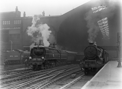 Southern Railway 4-6-2 locomotive no. 34059 'Sir Archibald Sinclair' at Liverpool Street.
