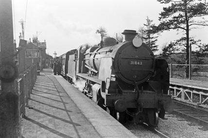Locomotive no. 31843, South Molton, 7 April 1953