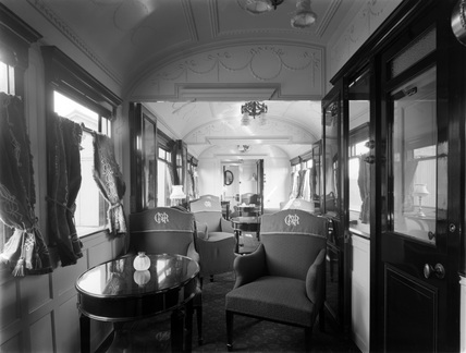 Interior of semi-royal saloon vehicle no. 3099, 4 September 1908 (Doncaster, DON_E10)