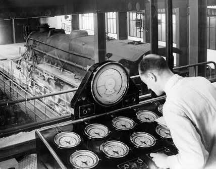 Control room at Rugby Locomotive Testing Station.