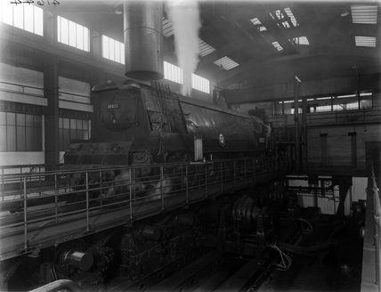 Merchant Navy class locomotive no. 35022 at Rugby Locomotive Testing Station.