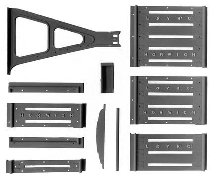 Lancashire & Yorkshire Railway signal cabin lever frame, locking frame cradle & top plates