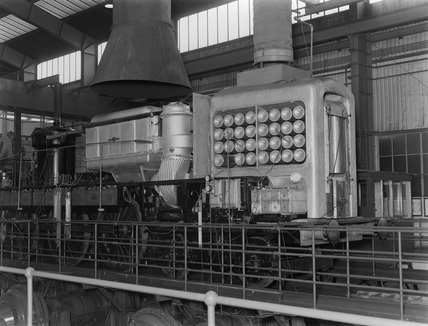 English Electric Gas Turbine locomotive at Rugby Locomotive Testing Station c1957.