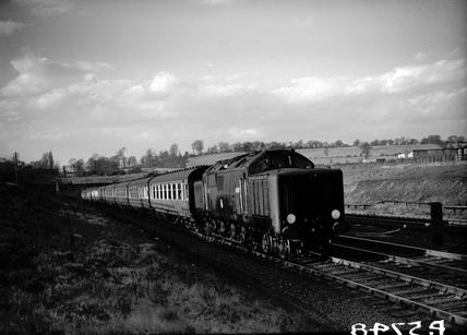 Locomotive 10100 approaching Elstree 22 March, 1952.