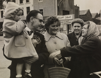 MP Joe Symonds chats to shoppers in Cleator Moor, 1959
