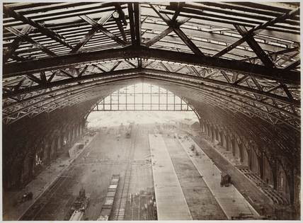 St Pancras station, view from the roof towards the platforms, 1868