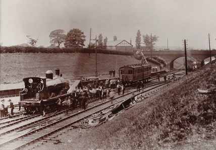 Derailed train, Preston, 1896.