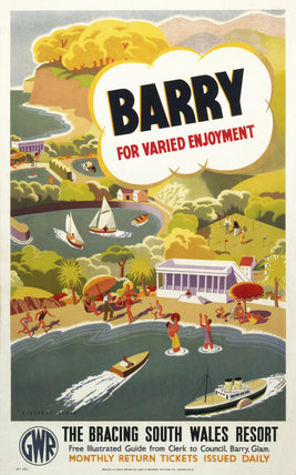 'Barry for Varied Enjoyment', GWR poster, c 1930s.