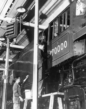 Paintshop at Crewe Works, Cheshire, January 1951.