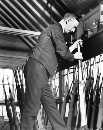 Signal box interior, January 1937.
