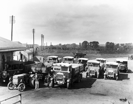 Delivery Vehicles in a car park at Theale, Berkshire, c.1930.