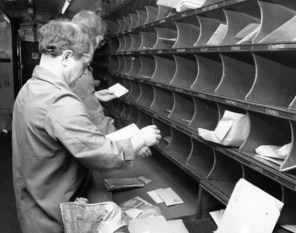 Travelling Post Office sorting van, c.1987.